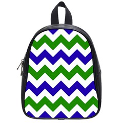 Blue And Green Chevron School Bags (small)  by Jojostore