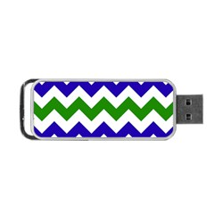 Blue And Green Chevron Portable Usb Flash (one Side) by Jojostore