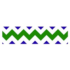 Blue And Green Chevron Satin Scarf (oblong) by Jojostore