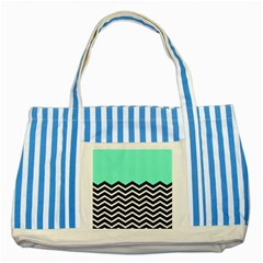 Blue Chevron Striped Blue Tote Bag by Jojostore