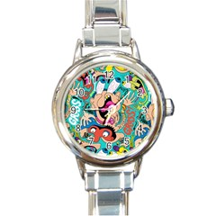 Cartoons Funny Face Patten Round Italian Charm Watch by Jojostore