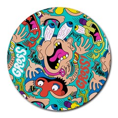 Cartoons Funny Face Patten Round Mousepads by Jojostore