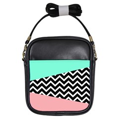 Chevron Green Black Pink Girls Sling Bags by Jojostore