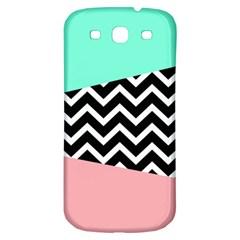 Chevron Green Black Pink Samsung Galaxy S3 S Iii Classic Hardshell Back Case by Jojostore