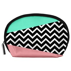 Chevron Green Black Pink Accessory Pouches (large)  by Jojostore