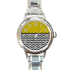 Colorblock Chevron Pattern Mustard Round Italian Charm Watch by Jojostore