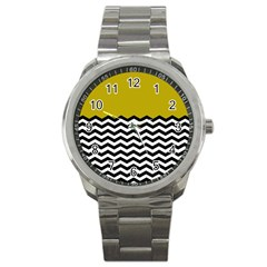 Colorblock Chevron Pattern Mustard Sport Metal Watch by Jojostore