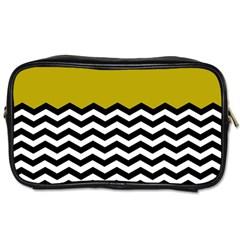 Colorblock Chevron Pattern Mustard Toiletries Bags 2 Side by Jojostore