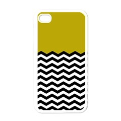 Colorblock Chevron Pattern Mustard Apple Iphone 4 Case (white) by Jojostore