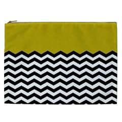 Colorblock Chevron Pattern Mustard Cosmetic Bag (xxl)  by Jojostore