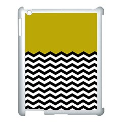 Colorblock Chevron Pattern Mustard Apple Ipad 3/4 Case (white) by Jojostore