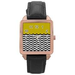 Colorblock Chevron Pattern Mustard Rose Gold Leather Watch  by Jojostore