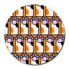 Cute Cat Hand Orange Round Mousepads by Jojostore