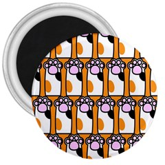 Cute Cat Hand Orange 3  Magnets by Jojostore
