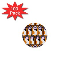 Cute Cat Hand Orange 1  Mini Buttons (100 Pack)  by Jojostore