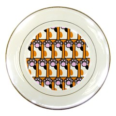 Cute Cat Hand Orange Porcelain Plates by Jojostore
