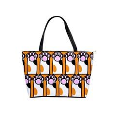 Cute Cat Hand Orange Shoulder Handbags by Jojostore