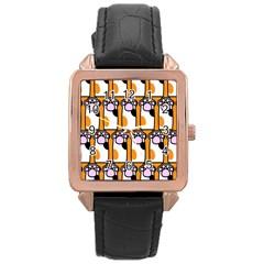Cute Cat Hand Orange Rose Gold Leather Watch  by Jojostore