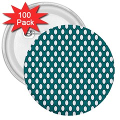 Circular Pattern Blue White 3  Buttons (100 Pack)  by Jojostore