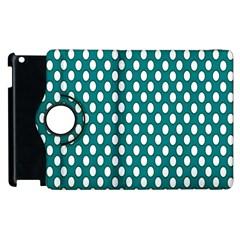 Circular Pattern Blue White Apple Ipad 3/4 Flip 360 Case by Jojostore
