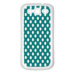 Circular Pattern Blue White Samsung Galaxy S3 Back Case (white) by Jojostore