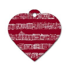 City Building Red Dog Tag Heart (one Side) by Jojostore