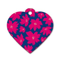 Flower Red Blue Dog Tag Heart (two Sides) by Jojostore