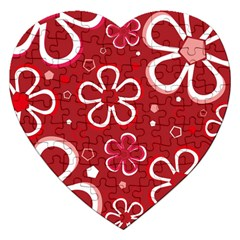 Flower Red Cute Jigsaw Puzzle (heart) by Jojostore