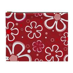 Flower Red Cute Cosmetic Bag (xl) by Jojostore