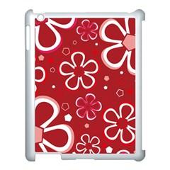 Flower Red Cute Apple Ipad 3/4 Case (white) by Jojostore
