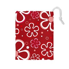 Flower Red Cute Drawstring Pouches (large)  by Jojostore