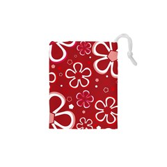 Flower Red Cute Drawstring Pouches (xs)  by Jojostore