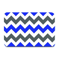 Grey And Blue Chevron Plate Mats by Jojostore