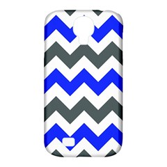 Grey And Blue Chevron Samsung Galaxy S4 Classic Hardshell Case (pc+silicone) by Jojostore
