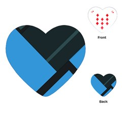 Lines Textur  Stripes Blue Playing Cards (heart)  by Jojostore