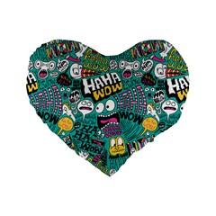 Haha Wow Pattern Standard 16  Premium Flano Heart Shape Cushions by Jojostore