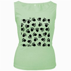 Paws Black Animals Women s Green Tank Top by Jojostore