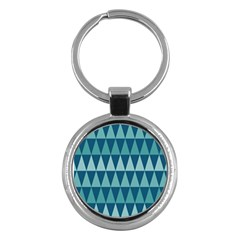 Blues Long Triangle Geometric Tribal Background Key Chains (round)  by Jojostore