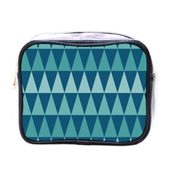 Blues Long Triangle Geometric Tribal Background Mini Toiletries Bags by Jojostore