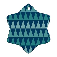 Blues Long Triangle Geometric Tribal Background Ornament (snowflake)  by Jojostore