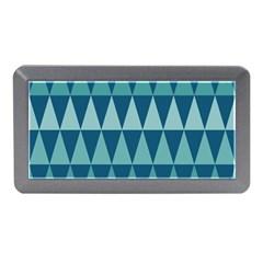 Blues Long Triangle Geometric Tribal Background Memory Card Reader (mini) by Jojostore
