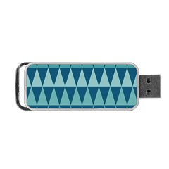 Blues Long Triangle Geometric Tribal Background Portable Usb Flash (one Side) by Jojostore