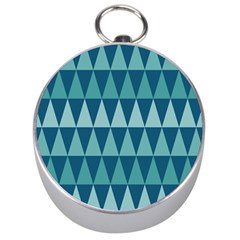 Blues Long Triangle Geometric Tribal Background Silver Compasses by Jojostore