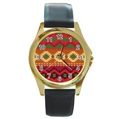 Background Plot Fashion Round Gold Metal Watch