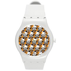 Face Cat Yellow Cute Round Plastic Sport Watch (m) by Jojostore