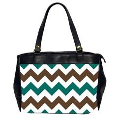 Green Chevron Office Handbags (2 Sides)  by Jojostore