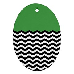 Lime Green Chevron Oval Ornament (two Sides)