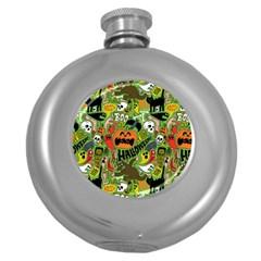 Halloween Pattern Round Hip Flask (5 Oz) by Jojostore