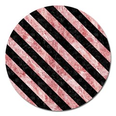 Stripes3 Black Marble & Red & White Marble (r) Magnet 5  (round) by trendistuff