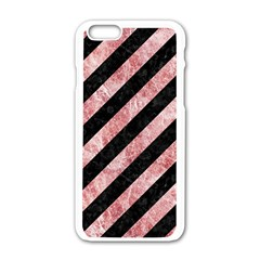 Stripes3 Black Marble & Red & White Marble Apple Iphone 6/6s White Enamel Case by trendistuff